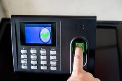 Finger print scan for enter Stock Images