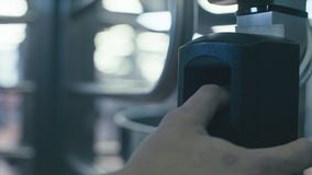 Finger print scan for security system. stock video