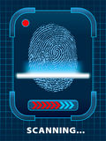 Finger-print scanning. Digital finger-print scanning. Illustration Stock Image