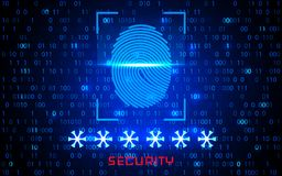 Finger-print Scanning Identification System. Biometric Authorization and Business Security Concept. Vector illustration.  Royalty Free Stock Photography