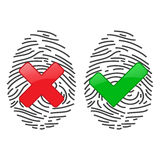 Finger-print Scanning Identification System. Biometric Authorization and Business Security Concept. Vector illustration Stock Images