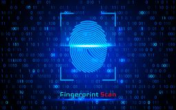 Finger-print Scanning Identification System. Biometric Authorization and Business Security Concept. Vector illustration.  Stock Photo