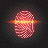 Touch ID neon icon, fingerprint scanning identification system. Finger print scanning identification system. Biometric authorization, business security and Stock Photos
