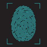 Finger-print Scanning Identification System. Biometric Authorization and Business Security Concept. Vector illustration in flat style Royalty Free Stock Photography