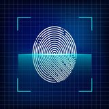 Finger print scanning system. Automated fingerprint identification. Biometric authorization and security concept. Vector illustration Royalty Free Stock Photos