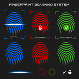 Finger print scanning system. Vector illustration. Royalty Free Stock Photo