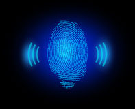 Finger print with signal. On black Stock Photos