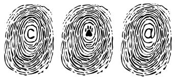 Finger print with symbols. A finger print with symbols in the middle: copyright symbol, an animal print and the e-mail symbol. Vector image Royalty Free Stock Photography