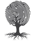 Finger print tree. Black fingerprint tree. Fingerprint tree shape. Tree from fingerprint. Fingerprint roots. Vector fingerprint tree Royalty Free Stock Photos