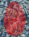 Finger Print and USA Currency. This image created by me from my own images Stock Photo