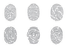 Finger print. Vector icons set illustration isolated on white background Royalty Free Stock Images