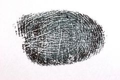 Finger Print on White Paper. A black ink finger print on a white sheet of paper Stock Photography