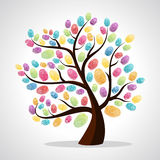 Finger prints diversity tree. Diversity color tree finger prints illustration background. Vector file layered for easy manipulation and custom coloring Stock Images