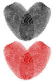 Finger prints in heart shape Stock Photos