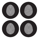 Finger prints icons set. White on a black background Royalty Free Stock Photo