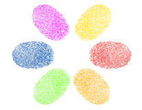 Finger prints in various colors Royalty Free Stock Image