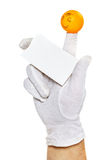 Finger puppet holding empty card Stock Photography