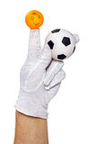 Finger puppet holding football ball Royalty Free Stock Images