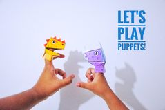 Finger puppet. Kid was playing finger puppet Royalty Free Stock Photos