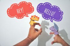 Finger puppet. Kid was playing finger puppet Stock Photography