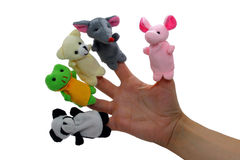Finger puppets. Five cuty finger puppets on a hand stock photography