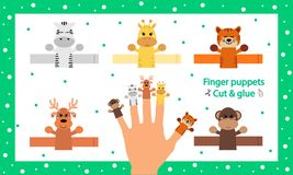 Free Finger Puppets. Vector Illustration. Cut And Glue The Paper Cute Animals Doll. Create Toys Farm Animals. 3d Gaming Royalty Free Stock Image - 167530136
