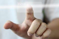 Finger push enter Stock Photo