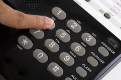 Finger Push Telephone Button Royalty Free Stock Images