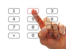 Finger push a telephone number button Stock Photos