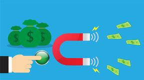 Finger Pushes Button To Pull In Money vector illustration