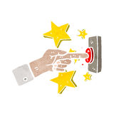 Finger pushing button cartoon Royalty Free Stock Photo
