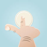 Finger pushing button. Illustration of a finger pushing button Royalty Free Stock Images