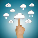 Finger pushing cloud icons Stock Photo