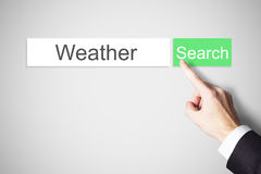 Finger pushing green web search button weather Stock Photo