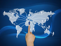 Finger pushing icon. S on the world map royalty free illustration