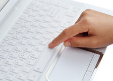Finger pushing the space bar button Royalty Free Stock Images