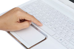 Finger pushing the space bar button Royalty Free Stock Photos