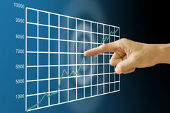 Finger pushing stock exchange's statistic graph Royalty Free Stock Photos