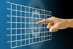 Finger pushing stock exchange's statistic graph Royalty Free Stock Photos