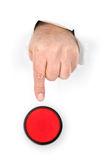 Finger pushing stop button Stock Images
