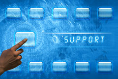 Finger pushing support button Stock Photos