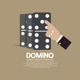 Finger Pushing To Domino Row. Vector Illustration Stock Photos