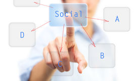 Finger pushing on touch screen icon. Can be used for social network concept Stock Image