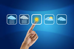 Finger pushing Weather icon. Sign royalty free illustration