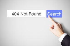 Finger pushing web search button 404 not found error Royalty Free Stock Images