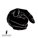 Finger que señala la mano que muestra directamente en el observador, blac detallado Fotografía de archivo libre de regalías