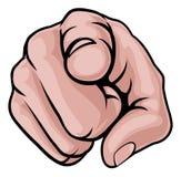 Finger que señala la mano de la historieta Fotos de archivo libres de regalías
