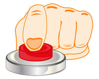 Finger on red button. The Finger of the person pressing redden button.Vector illustration Royalty Free Stock Photos