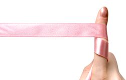 Finger with ribbon Stock Photos