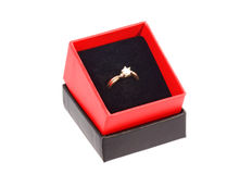 Finger ring. In a gift box Stock Images